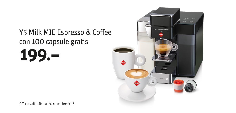 Y5 Milk MIE Espresso & Coffee con 100 capsule gratis